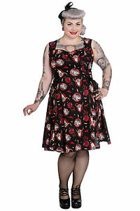 Hell Bunny Plus Size Black Red Wolf Dream Skull Aiyana Lace Dress 1X 2X 3X