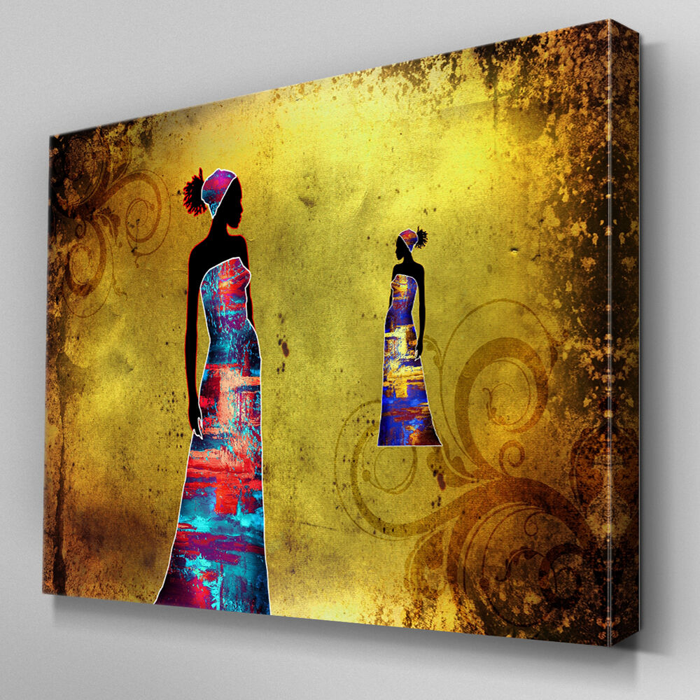 AB771 Modern african Gelb damen Canvas Wall Art Abstract Picture Large Print