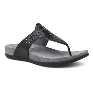 Women's Shoes Pure And Mild Flavor Nib Dansko Benita Sandales à Entredoigt Tongs Cuir Embossé De Femmes Noires 38