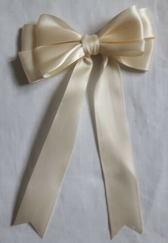 """5 or 10 Large 10cm 4/"""" Double Satin Bow In Cream Packs of 2"""