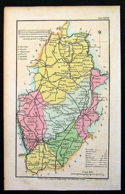 Map Of Uk Nottingham.1808 Phillips Map Nottinghamshire Nottingham England Uk Ebay