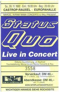 Status-Quo-Live-in-Concert-Altes-gebrauchtes-Konzert-Ticket-vom-28-11-1992