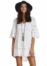 4602 New Odd Molly Free Flow Floral Embroidered White Cotton Tunic Dress XS 0