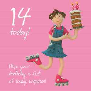 Girls 14th birthday greeting card one lump or two range holy image is loading girls 14th birthday greeting card one lump or bookmarktalkfo Image collections