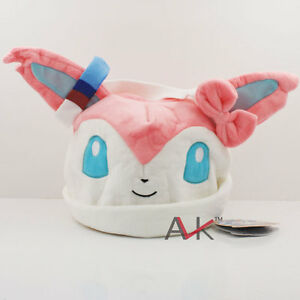 18f2e614538 Pokemon Sylveon Cosplay Soft Cute Plush Toy Cap Warm Beanie Costume ...