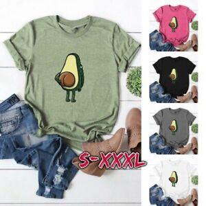 Summer-Women-Short-Sleeve-T-shirt-Casual-Avocado-Print-Graphic-Tees-Loose-Tops