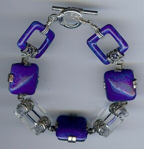 VINTAGE-ART-DECO-1930-039-S-LAPIS-BLUE-amp-CLEAR-GLASS-LINK-BRACELET