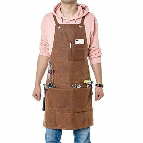 Heavy Duty Workman Apron Waxed Canvas QEES Carpenters Apron for Men and Women