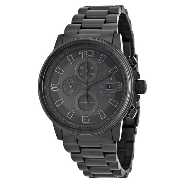 Citizen NightHawk EcoDrive Chronograph Black Dial Black Ion-plated Mens Watch