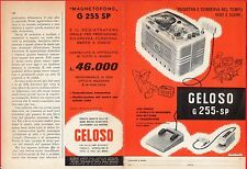 Pubblicità Advertising Werbung 1959 GELOSO magnetofono G255-SP