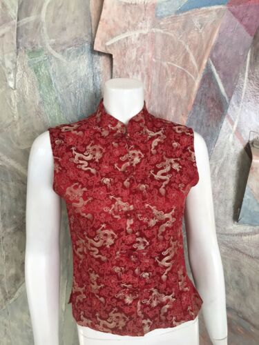 Mandala Red Dragon Asian Silk Kimono Blouse Sleeve