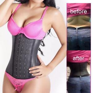 05639ca463 Women Latex Waist Cincher Waist Trainer Trimmer Belt Long Torso with ...