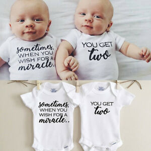 504a0c7f3e5 Image is loading Newborn-Twins-Baby-Boys-Girls-Clothes-Romper-Bodysuit-