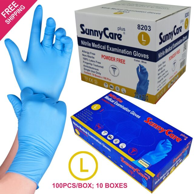 1000 Blue Nitrile Medical Exam Gloves Powder Free (Non Vinyl Latex) Size:  LARGE