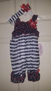 44fe0b6a107 Image is loading Little-Lass-Baby-Girls-039-2Pc-Set-Patriotic-