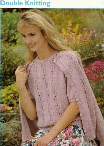 "#226 LADY/'S DK CARDIGAN /& TOP 32-44/"" VINTAGE KNITTING PATTERN"