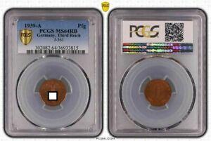 1 Pfennig 1939 A J.361 Fresh Mint Condition, PCGS MS64RB