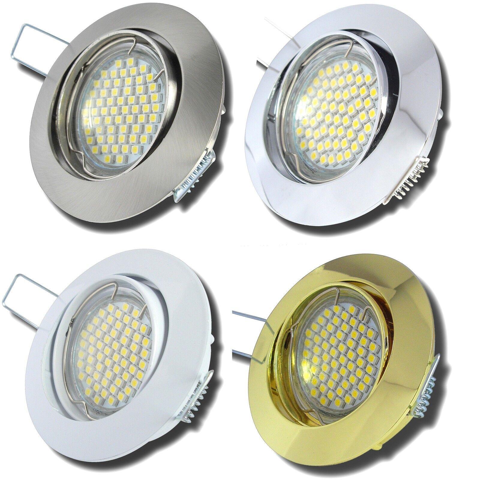 9er Set LED Einbaustrahler Jan 230V GU10 Einbauleuchte + 3Watt SMD Power LED