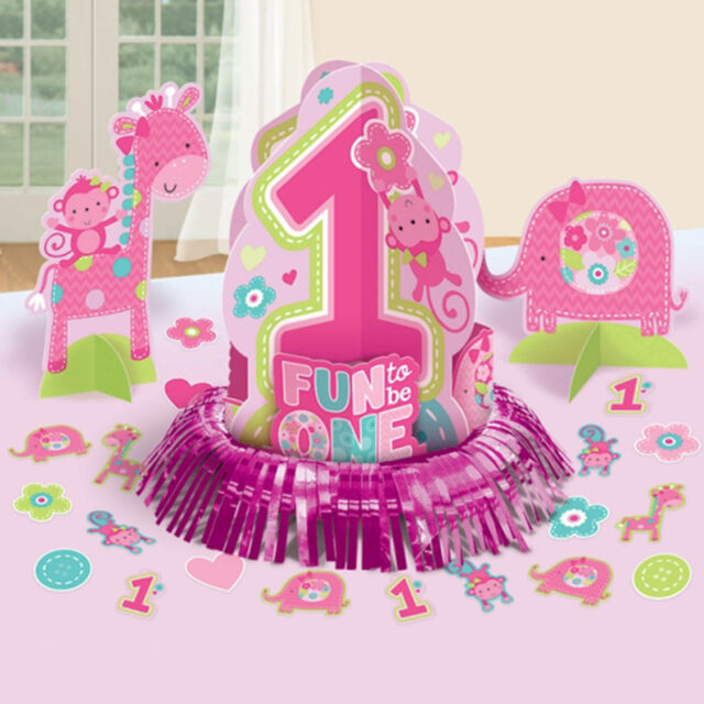 23 Piece Wild Fun To Be One Pink Girl's 1st Birthday Party Table Decorating Kit
