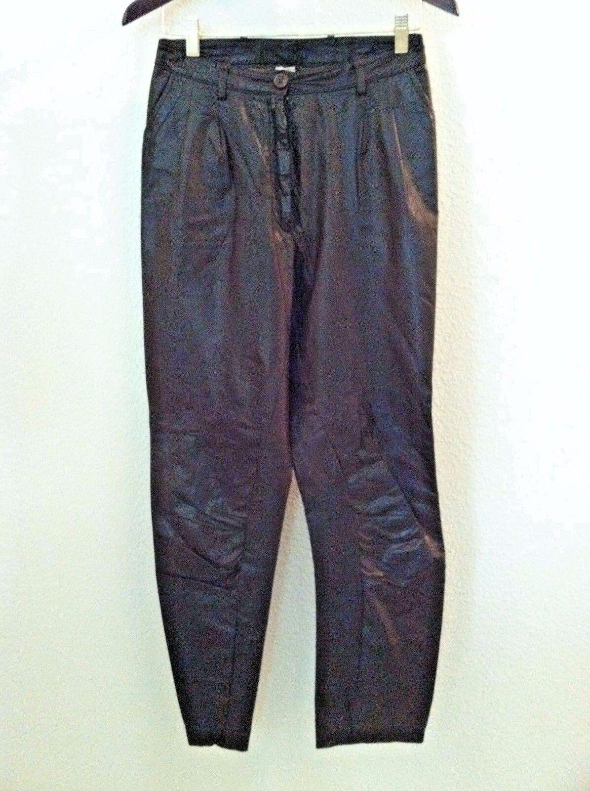 Vintage damen pants braun leather trouser baggies pleated Größe 4 6