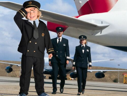Airline Pilot Captain fancy dress up BNWT 3-7y Book Week Black Boys Kids Costume