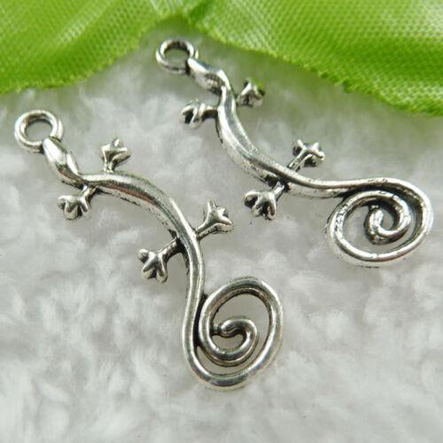 Free Ship 300 pieces tibet silver gecko charms 29x11mm B476