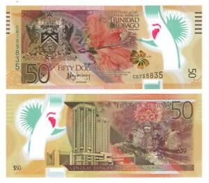 TRINIDAD-amp-TOBAGO-UNC-50-Dollars-2014-P-54-Commemorative-POLYMER-Banknote-CB