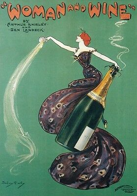 "AP111 Vintage 1899 ""Woman And Wine"" Theatre Advertisement Poster Card Print A5"