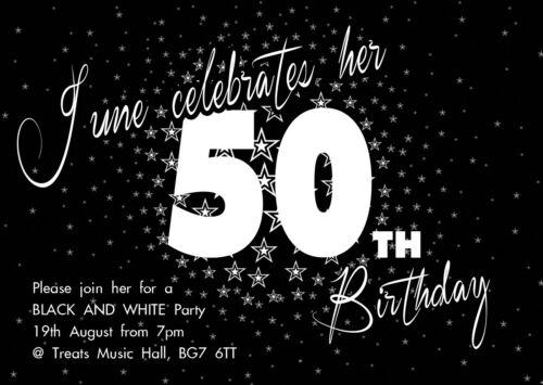 30th 40th 50th 60th 70th Men Women Black Birthday Party Invites x12 Stars H0863