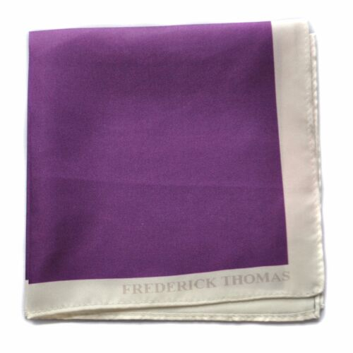Frederick Thomas 100/% silk cadbury purple pocket square handkerchief FT1660