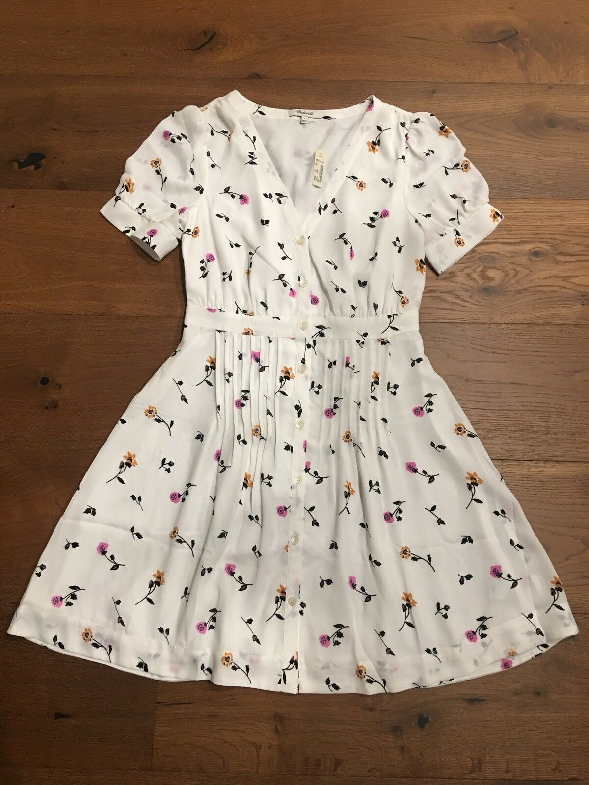 MADEWELL Daylily Pintuck Dress in Sweet Blossoms 14,Matilda Weiß Wash  NWT