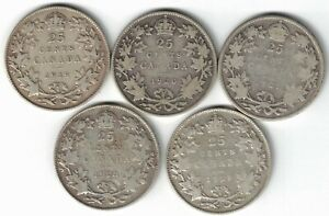 5-X-CANADA-25-CENTS-QUARTERS-KING-GEORGE-V-SILVER-COINS-1919-1920-1921-1928-1929