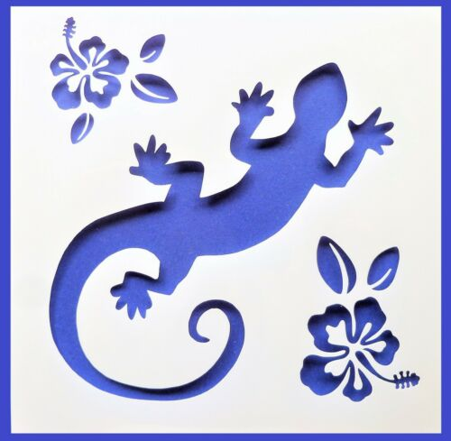 Flexible Stencil *GECKO /& FLOWERS* Lizard Hibiscus Card Making 10cm x 10cm