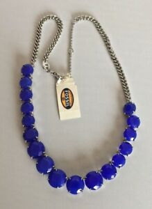 Fossil-Brand-Silver-Tone-Blue-Glass-Stone-Drama-Collar-Chain-Necklace-68-NEW