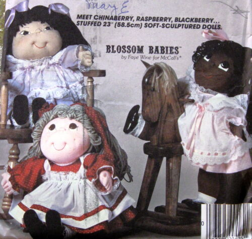"Soft Sculpture ethnic doll pattern 23/"" Blossom Babies Vtg 80s Faye Wine"