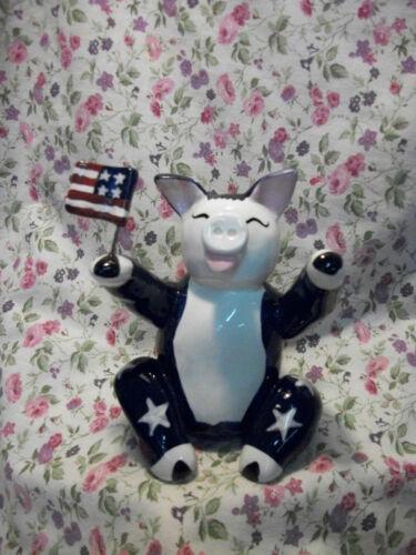 WHIMSICLAY ANNACO CREATIONS PIG SITTING AMERICAN 21208