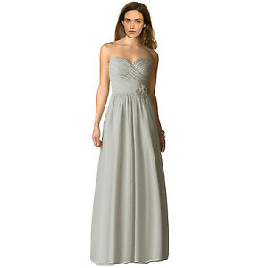 20159ffe6854 Details about Strapless Full Length Chiffon Bridesmaids Dress Formal  Evening Gown Silver Grey