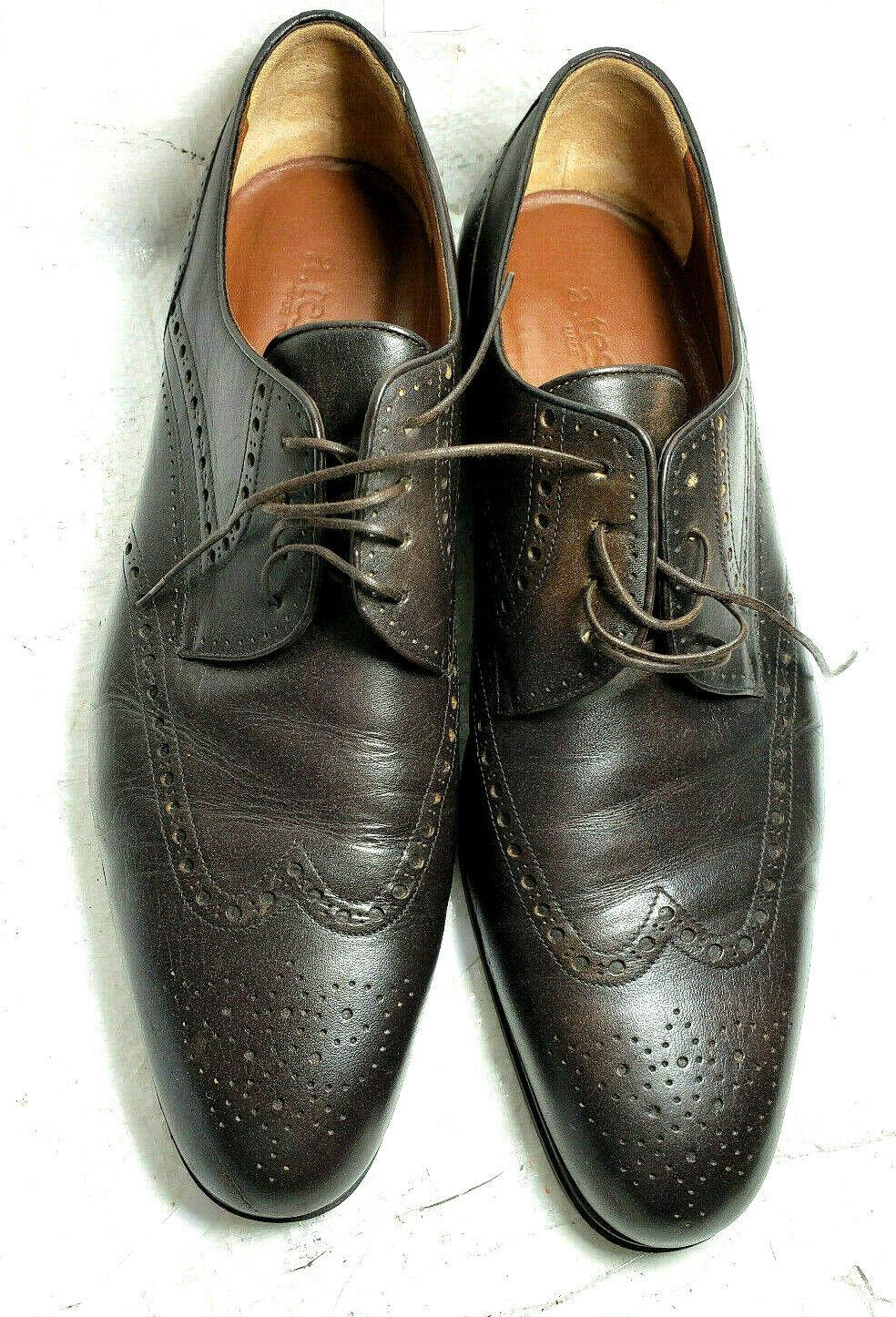 A. Testoni Zapatos Para Hombres Oxford 10 M De Cuero Marrón Encaje-Ups Sólido Hecho en Italia