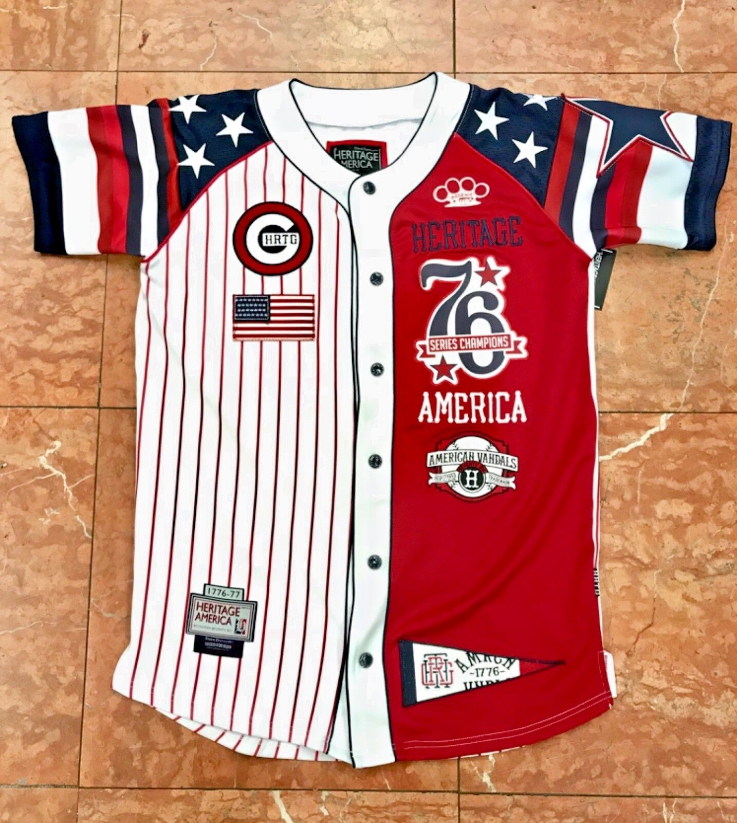 Men's bluee Red White Baseball Jersey