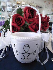 Wedding flower girl basket white flowergirl with black and white image is loading wedding flower girl basket white flowergirl with black mightylinksfo
