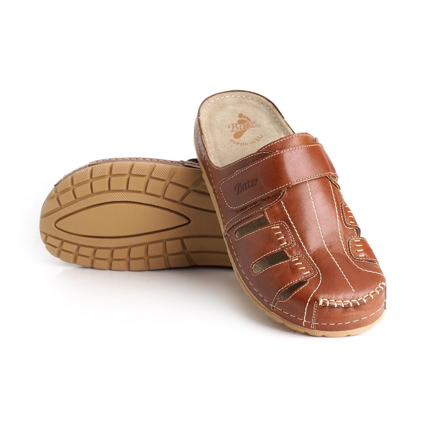 Batz KZ braun Men Leather Slip On Sandals, EU 45, UK 10.5