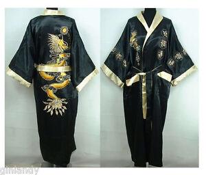 Chinesischen Seide Double-face Herren Kimono Robe Kleid Bademantel Kleid Bequem Zu Kochen