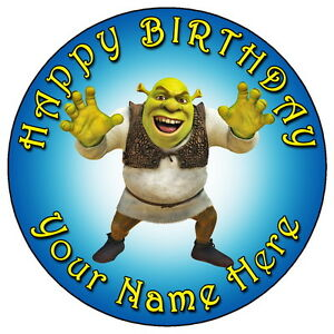 "SHREK FUN PARTY - 7.5"" PERSONALISED ROUND EDIBLE ICING ..."