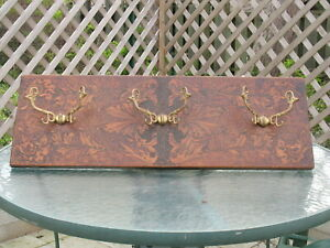 Pyro-Art-Burnt-Wood-Folk-Art-Wall-Coat-Hat-Rack-Wall-Mount-Hooks-Vintage