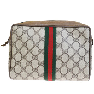 767f00e7b3e419 Authentic GUCCI GG Pattern Sherry Clutch Hand Bag Pouch PVC Leather ...