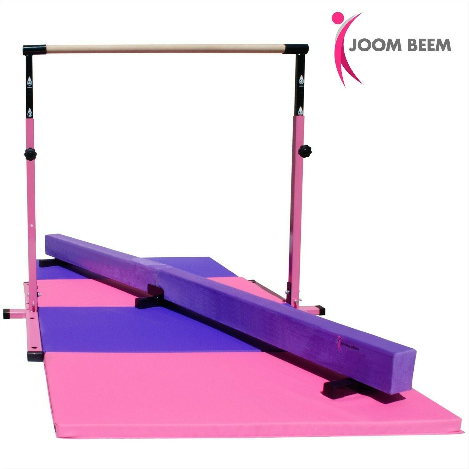 Pink Adjustable (3'-5') Horizontal Bar and 8ft Folding Mat Balance Beam Combo Gy