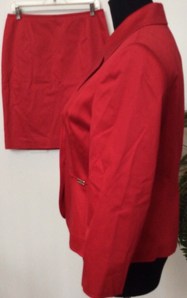 New Tahari Women's Career Red 3 Button Cotton Blend Blend Blend 2 Piece Skirt Suit Size 10P. 17ba69