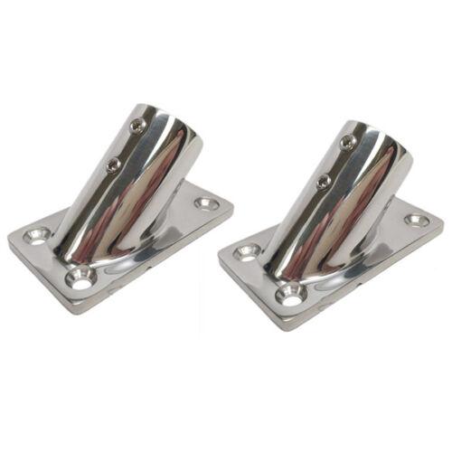 """2PCS Stainless Steel Boat Hand Rail Fitting 45 Degree 7//8/"""" Rectangular Base New"""