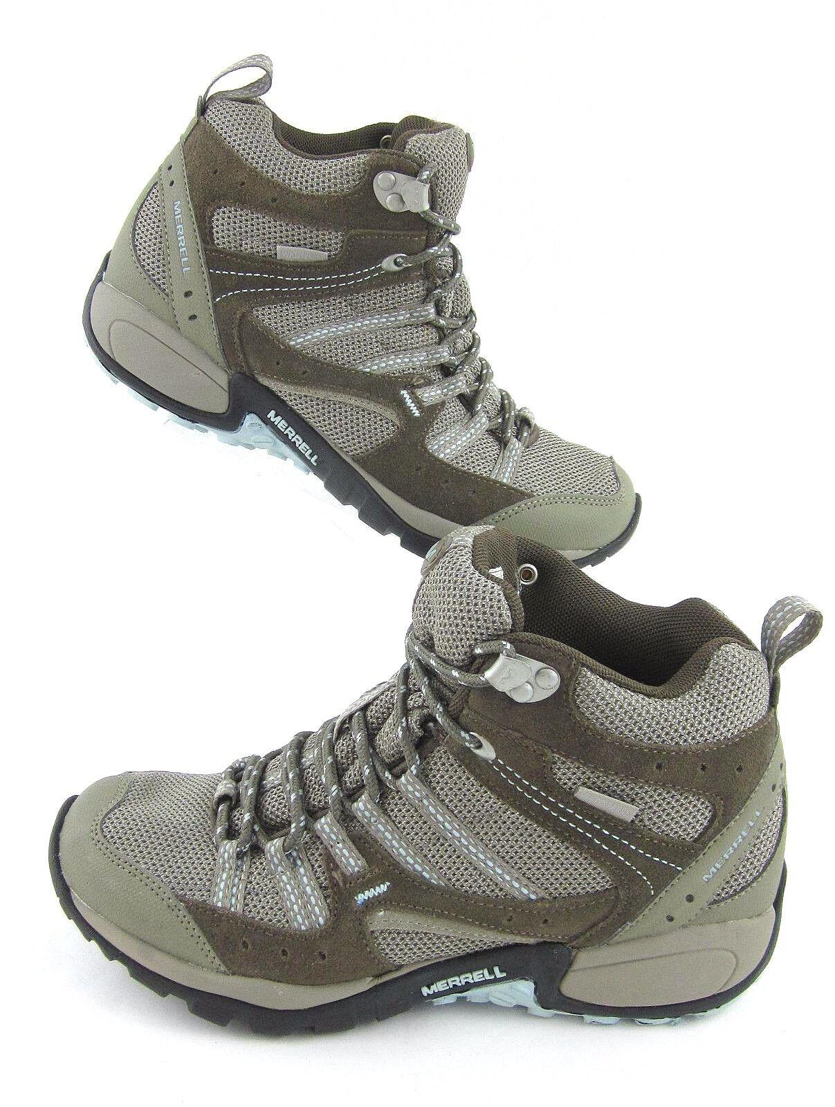 Merrell Tuskora Mid Waterproof Hiking Trail Stivali Olive Sz 8 Worn Once!