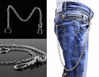 70//66cm  Silver Hipster//Lobster Keyring Jeans Wallet Belt Key Chain Ring Gothic